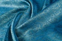 背景纹理,样式 蓝色佩兹利丝绸薄绢mod fabri 库存照片