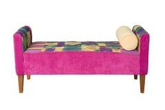 背景织品前面粉红色沙发白色 库存照片
