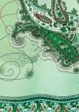 背景绿色佩兹利 免版税库存图片