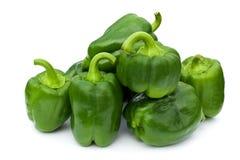 背景绿色查出的胡椒甜白色 库存照片
