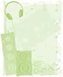 背景绿色耳机报告人 免版税库存图片