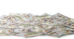 背景美元玻璃查出锁定扩大化的货币s u白色 S 100个票据美元 库存照片