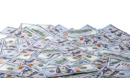 背景美元玻璃查出锁定扩大化的货币s u白色 S 100个票据美元 免版税库存照片