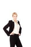 背景美好的女实业家白色 免版税库存照片