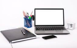 背景膝上型计算机白色 免版税库存图片