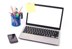 背景膝上型计算机白色 免版税图库摄影