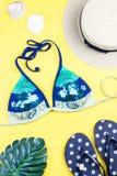 背景节假日热带海报的夏天 与时装配件的热带夏天概念,比基尼泳装,在明亮的背景离开 库存图片