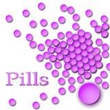 背景药片桃红色纹理 驱散药片 压片顶视图 空白查出的药片 库存图片