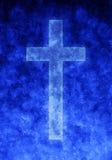 背景蓝色交叉宗教信仰 免版税库存照片