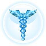 背景蓝色众神使者的手杖医疗符号 库存图片