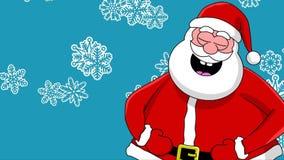 背景蓝色克劳斯另外滑稽的笑的圣诞老人雪花排序 库存例证