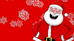 背景蓝色克劳斯另外滑稽的笑的圣诞老人雪花排序 向量例证