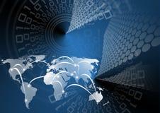 背景蓝色全球映射 免版税库存图片