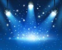 背景蓝色发光的聚光灯 免版税库存图片