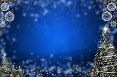 背景蓝色圣诞树黄色 库存照片