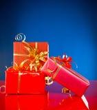 背景蓝色圣诞节礼物 免版税图库摄影