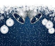 背景蓝色圣诞节装饰 免版税库存照片
