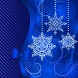 背景蓝色圣诞节雪雪花 库存图片