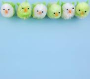 背景蓝色小鸡复活节行 免版税库存图片