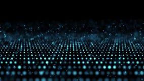 背景蓝色微粒运动 样式在黑背景的焕发微粒 行动抽象点 皇族释放例证