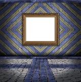 背景蓝色框架板条葡萄酒黄色 库存图片