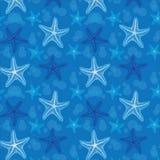 背景蓝色模式无缝的海星 免版税库存图片