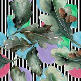 背景蓝色留下橡木天空 无缝的背景模式 织品墙纸印刷品纹理 向量例证