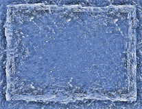 背景蓝色破裂的冰长方形 库存照片