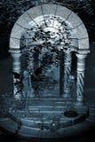 背景蓝色神仙的寺庙 库存照片