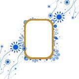 背景蓝色花卉框架金子 库存照片