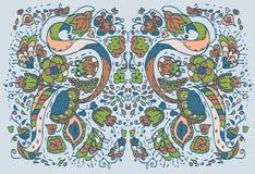 背景蓝色花卉模式 免版税库存照片