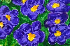 背景蓝色花油漆水彩 免版税库存图片