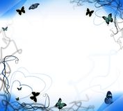 背景蓝色蝴蝶 向量例证