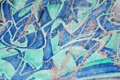 背景蓝色街道画临时skatepark墙壁 免版税库存照片