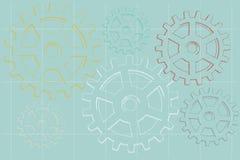 背景蓝色退色的齿轮说明的草图 免版税库存照片