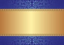 背景蓝色金子 免版税图库摄影