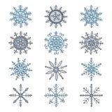 背景蓝色集合雪花向量 免版税图库摄影