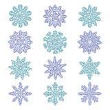 背景蓝色集合雪花向量 库存照片