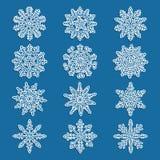 背景蓝色集合雪花向量 免版税库存图片