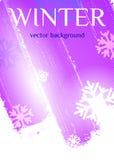 背景蓝色雪花白色冬天 在紫色口气的抽象背景 库存例证