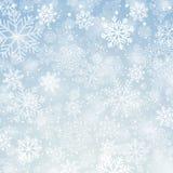 背景蓝色雪花白色冬天 向量例证