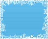 背景蓝色雪花镶边了 免版税库存照片
