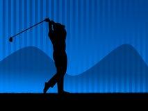 背景蓝色高尔夫球 库存照片