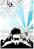 背景蓝色dj海报 免版税图库摄影