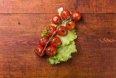背景蓬蒿砍新鲜的叶子老成熟蕃茄的董事会樱桃 免版税库存照片
