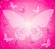 背景蝴蝶不透明的粉红色 库存例证