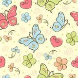 背景蝴蝶逗人喜爱无缝 库存照片