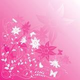 背景蝶粉花向量 图库摄影