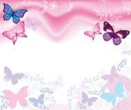 背景蝶粉花 向量例证