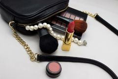 背景袋子化妆用品查出白色 图库摄影